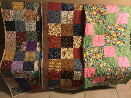 Created by Bert C, Katie Jo, and Letha. First 2 were quilted by Linda L and the third one was quilted by Susan S
