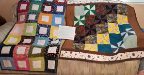 L. by Linda D. R. by Ora S. Both quilted by Ann Drake
