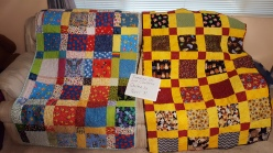 Sunshine quilters made the tops. Quilted by Terri R.